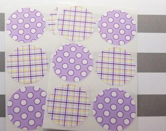 Stickers Envelope Seals Purple Stickers Dots Plaid Calendar Stickers Reminder Stickers  SES241