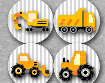 Construction Truck Stickers Envelope Seals Stickers Birthday Stickers Birthday Favor Stickers  - Set of 24 SES250