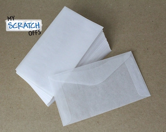 Glassine Envelopes 10 Wedding Favors Lottery Ticket Lotto Shower Baby Scratch