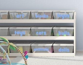 Playroom Toy Bin Decals - Playroom Decals- Bin Labels - Organization - Toy Bin Labels- Toy Bin Decal - Wall Decals- Playroom Toys - H42