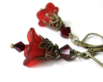 Red Flower Earrings, Flower Jewelry, Crimson Floral Swarovski Crystal Jewelry, Gifts for Gardeners, Affordable Jewelry, jewelrybyNaLa