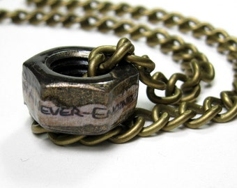 I've Got A Never-Ending Love For You, Industrial Chic, Hex Nut Necklace, Antiqued Brass, Romantic, Sweet, True Love, Gifts for Him, Metal
