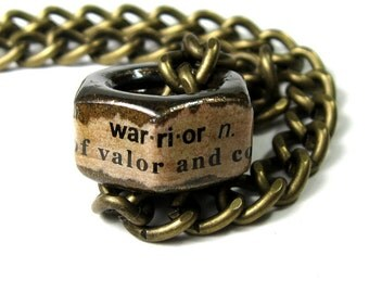 Steampunk Punk Rock Heavy Metal Industrial Chic Hex Nut Necklace, Gift Ideas For Him Dudes Dad Husbands, Warrior, Antiqued Brass Jewelry