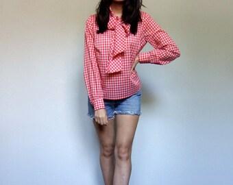 Gingham Shirt Vintage Red White Top 1970s Cotton Tie Neck Blouse Plaid 70s Long Sleeve Shirt Collar - Medium Large M L