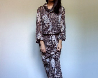Vintage 2 Piece Dress Leaf Print Brown 70s Earth Tones Summer Maxi Boho Dress Long Sleeves - Small to Medium S M