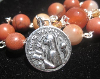 Fine Handmade Heirloom Quality SOLID STERLING Catholic One Decade Colonial Jasper and Carnelian Saint Teresa of Avila Chaplet