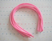 Light Pink Skinny Plastic Headbands, 4 mm Wide (6)