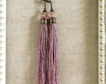 Bohemian Fringe Earrings in Pale Rose