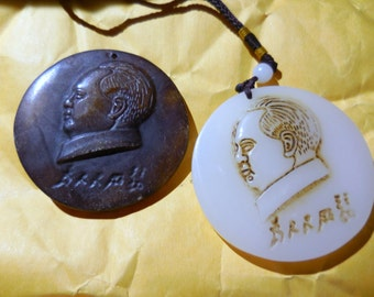 Vintage Jade Mao Pendants The Light and Dark Of Mao Chinese Cultural Revolution Leader  Free Shipping