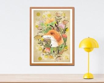 Wilderness Fine Art Print - Fox Artwork - Birthday Gift - Gift for Children - Illustrated Fox - Gift for Animal Lovers