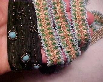 Vintage EDWARDIAN Dress Trim Turquoise Steel Bead & Clr Flapper Glass/Sew/Craft