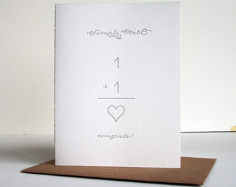 Letterpress Wedding card- Engagement card - Simple Math Heart