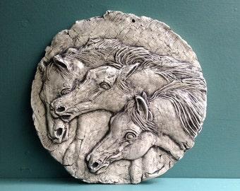 Horses Ceramic Pottery Porcelain Relief Animal Tile