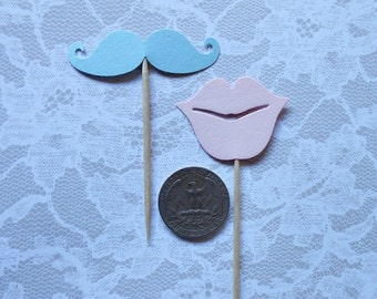 Gender reveal MUSTACHES & LIPS Cupcake Toppers- Set of 12 KID-sized picks- Fun photo props, kids lips shapes Mustache party favors fun picks
