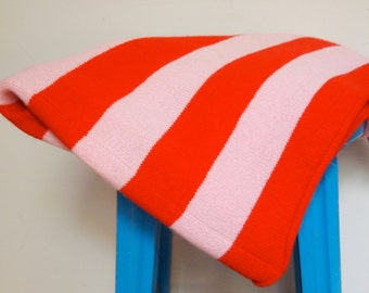 Lambswool Blanket Throw Red and Pink Stripe
