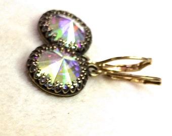 Swarovski rivoli earrings, Vitrail green glass earrings, Swarovski earrings, Swarovski crystal rivoli earrings