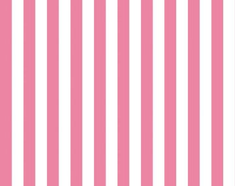 Hot Pink and White Half Inch Small Stripes Fabric from Riley Blake Designs - Half Yard - 1/2 Yard