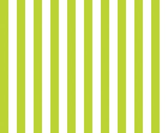 Lime Green and White Half 1/2 Inch Small Stripe Fabric from Riley Blake Designs - By the Yard - 1 Yard