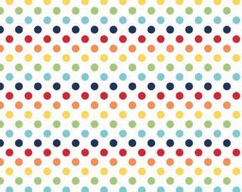 Rainbow Small Dots Fabric by Riley Blake Designs - Half Yard - 1/2 Yard - C350-01