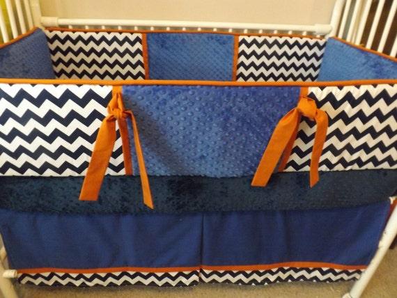 Items similar to navy blue chevron royal orange baby - Navy blue and orange bedding ...