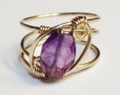 Amethyst Ring   Amethyst Gemstone   February Birthstone   Amethyst Gold Ring   14K Gold Filled Ring    Amethyst Jewelry