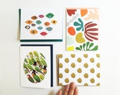 Stationery Assortment // Set of 4  or 8 // Folded A2 cards with envelopes, packaged in kraft box with window