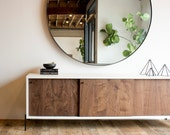Rivera Credenza- White and Walnut with Steel Base