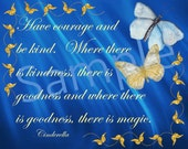 Cinderella Inspired Wall Art, Party Decor  Have Courage and Be Kind