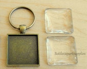 "5 pc 1"" Bronze SQUARE Pendant Charms w/ 25mm Key Rings + 5 SQUARE Clear Glass Domes"