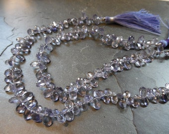 Sparkling Iolite Faceted Pear Briolettes, 9 inch FULL strand, 5mm-8mm (11m30)