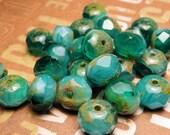 Teal Swirl Glass Donut Beads 6x8mm - 8pc