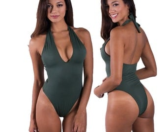 Olive Green Halter One Piece Swimsuit