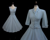 Vintage 1950s Ice Blue Rayon Faille Full Skirt Cocktail Party Dress Jacket Set XS