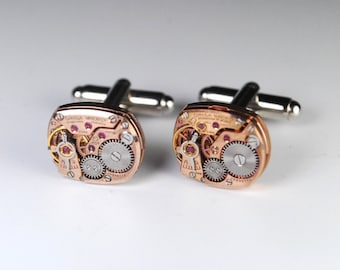 Steampunk Cufflinks Genuine OMEGA - Rose Gold - Luxury Watch Movement Cuff Links -- Great for Wedding Gift - Fathers Day - Anniversary