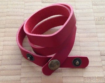 Scarlet Red Leather Wrap Bracelet Blank
