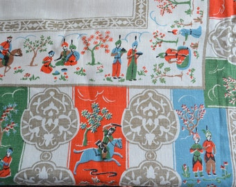 Vintage Linen Tablecloth - Oriental Scene - 62 x 78