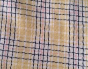 Vintage Yellow Wool Plaid Fabric Yardage (M-2)