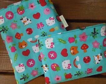 Reusable sandwich and/or snack bag - Hello Kitty reusable sandwich bag - Reusable snack bag - Fabric reusable bags set - Hello Kitty