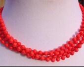 Vintage Coral Multi Strand Bead Necklace