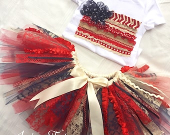 Grand Old Flag Shabby Lace Tutu, Independence Day, 4th of July, Shabby Chic, Vintage Tutu