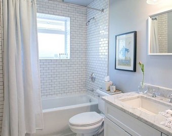 """Classic white cotton shower curtain 72"""", 84"""", 90"""", 96"""", 108"""" custom sizes available,"""