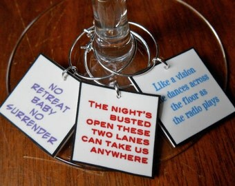 Bruce Springsteen Song Lyrics Wine Charms for the Music Lover CUSTOM ORDER Any Band Lyrics -Fast Ship