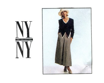 1990s Vest, Skirt Jacket Pattern Peg Leg High Waist Pants Skirt Cropped Jacket NY NY Collection McCalls 8710 Bust 30 OR 32 Sewing Pattern
