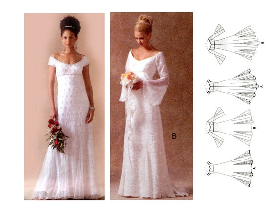 Plus Size Wedding Gowns With Sleeves: Regency Empire Waist Bridal Gown Pattern Wedding Dress Off
