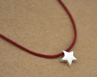 silver star necklace, STAR NECKLACE, petite solid sterling silver star beaded necklace with dark red string, choker style cord necklace