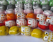 Pink, brown, orange or green porcelain owls - 6 beads, choose your colour- kawai hand painted