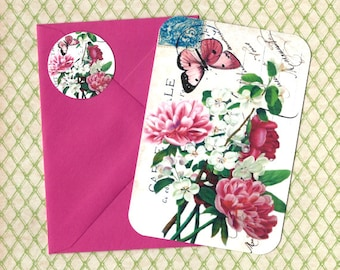 Note Card Set, Floral Bouquet, Floral Cards, Vintage Style, Stickers