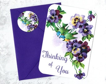 Note Cards, Flowers & Birds, Note Card Set, Stickers, Pansies, Greeting Cards