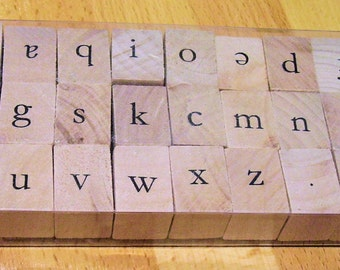 Rubber Stamp Set, Wood Mounted, Lower Case Alphabet 27 pieces