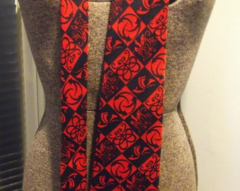 70s Wide Red Silk Tie by Merano Butterfly and Abstract Design